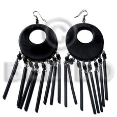 Dangling 50mm round natural black Wooden Earrings