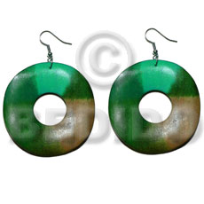 dangling 35mm round wavy wood ring  15mm inner hole - Wooden Earrings