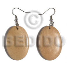 Dangling oval 38mmx27mm natural wood Wooden Earrings