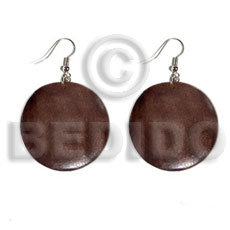 hand made Dangling round 32mm natural wood Wooden Earrings