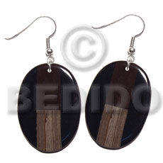 Dangling oval 40mmx30mm black resin Wooden Earrings