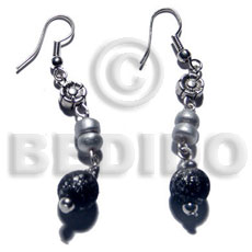 Dangling wood beads and 4-5mm Wooden Earrings