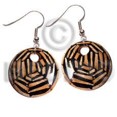 dangling earrings / 35mm  round laminated wood  dried leaves   10mm hole - Wooden Earrings
