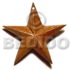 Wood star 40mm Wooden Pendant