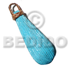 55mmx25mm textured aqua blue natural Wooden Pendant