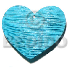 50mm textured heart shaped Wooden Pendants
