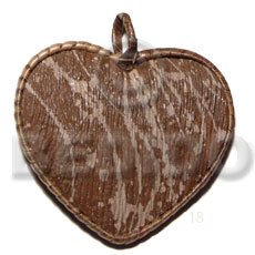 55mm Textured Marble Brown Heart