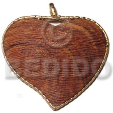 65x75mm textured heart bayong wood Wooden Pendants