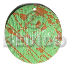 textured marbled light green round 50mm nat. wood pendant - Wooden Pendants
