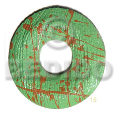 textured marbled light green round ring 50mm nat. wood pendant  20mm center hole - Wooden Pendants