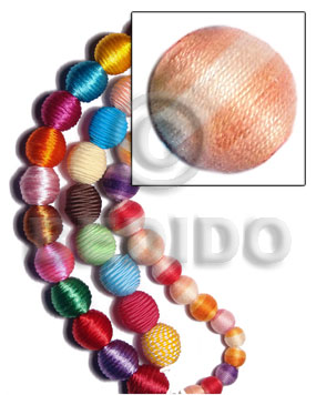 10mm natural white round wood beads wrapped in peach two toned crochet thread/ price per piece - Wrapped Wood Beads