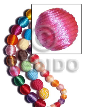 20mm natural white round wood beads wrapped in pink china cord / price per piece - Wrapped Wood Beads