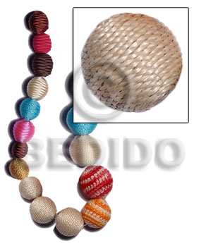 20mm natural white round wood beads wrapped in natural white abaca / price per piece - Wrapped Wood Beads